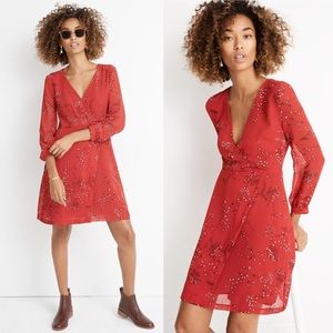 NWT Madewell Red Hazelwood Faux Wrap Mini Dress